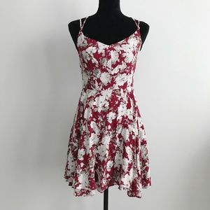 Red Floral Solemio Mini Skater Dress Size Small